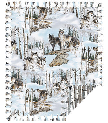 "No Sew Fleece Throw Kit 72""-Photo Real Wolves"
