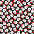 Christmas Cotton Fabric-Vintage Santa with Black Glitter