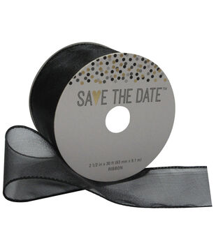 Save the Date 2.5'' X 30' Ribbon-Black Sheer