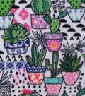 Anti-Pill Fleece Fabric 59\u0022-Geometric Potted Cacti