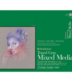 Strathmore 400 Series 15-sheet Mixed Media Paper Pad-Toned Gray