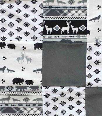 Nursery Cotton Fabric-3d Black & White Logan Patch