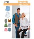 Simplicity Pattern 2741AA Adult Shirts & Vests-Size XS-S-M