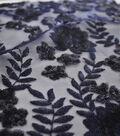 Embroidered Sequin Mesh Fabric 55\u0022-Mazarine Blue Leaf
