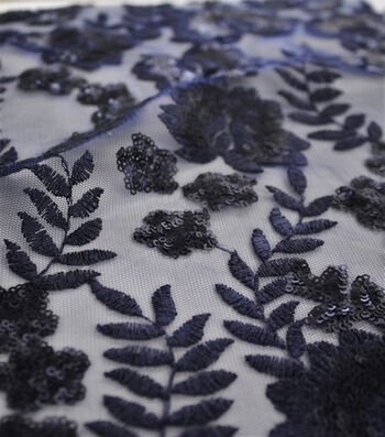 "Embroidered Sequin Mesh Fabric 55""-Mazarine Blue Leaf"