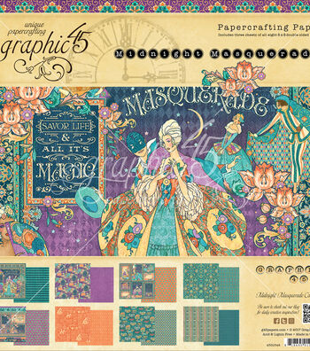 "Graphic 45 Double-Sided Paper Pad 8""X8""-Midnight Masquerade"