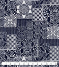 Snuggle Flannel Fabric-Navy Damask Patches