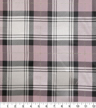 Sew Sweet Satin Fabric-Stewart Plaid on Pink & Gold