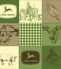 John Deere Fleece Fabric -Quilted Scenes