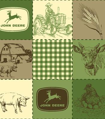 """John Deere® Fleece Fabric 59""""-Quilted Scenes"""
