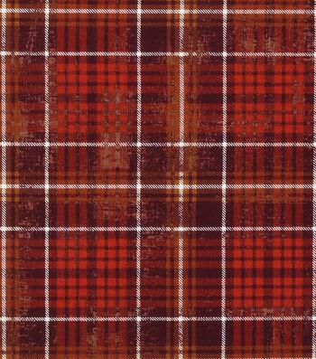 "Harvest Cotton Fabric 43""-Harvest Plaid Brown"