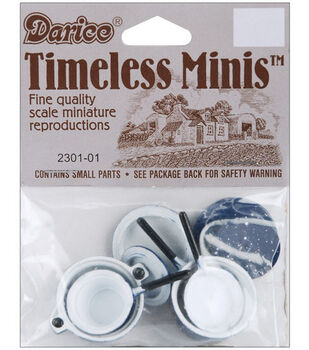 Darice Timeless Miniatures Blue Pots With Lids