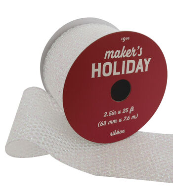 Maker's Holiday Christmas Ribbon 2.5''x25'-White Glitter Mesh
