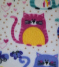 Blizzard Fleece Fabric 59\u0022-Colorful Geometrics Cats