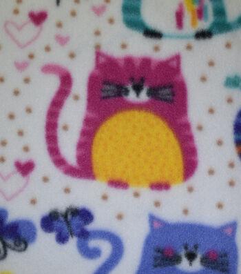 Blizzard Fleece Fabric-Colorful Geometric Cats