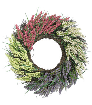 Fresh Picked Spring 20'' Heather & Twig Wreath-Multicolored