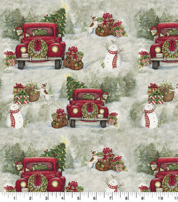 """Christmas Cotton Fabric 44""""-Country Drive"""
