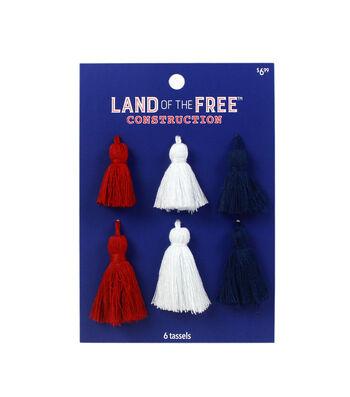 Land of the Free Tassels 6/Pkg-Red, White & Blue