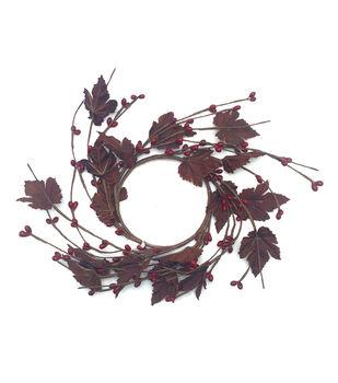 Blooming Autumn Pepper Berry & Maple Leaf Mini Wreath-Burgundy