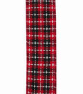 Maker\u0027s Holiday Christmas Ribbon 2.5\u0027\u0027x25\u0027-Red, Black & White Texture