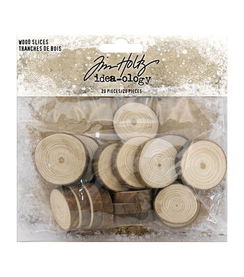"Idea-Ology Wood Slices 20/Pkg-Natural Raw Edge 1"" To 1.25"""