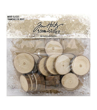 """Idea-Ology Wood Slices 20/Pkg-Natural Raw Edge 1"""" To 1.25"""""""