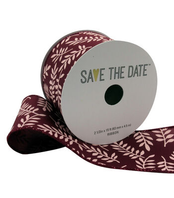 """Save the Date 2.5"""" x 15ft Ribbon-Blush Fern On Cranberry"""