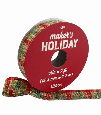 Maker's Holiday Christmas Ribbon 5/8''x9'-Red, Green & Natural Plaid