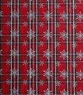 Holiday Decor Fabric-Plaid Taffeta With Snowflakes