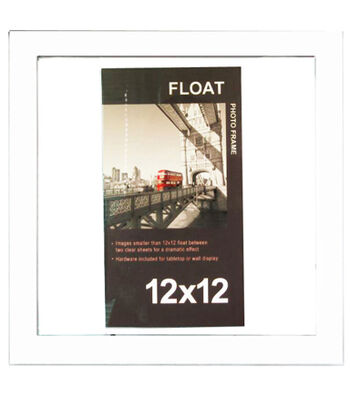 Wood Float Wall Photo Frame 12''x12''-White