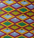 Global Cotton Shirting Fabric-Gold & Red Diamonds