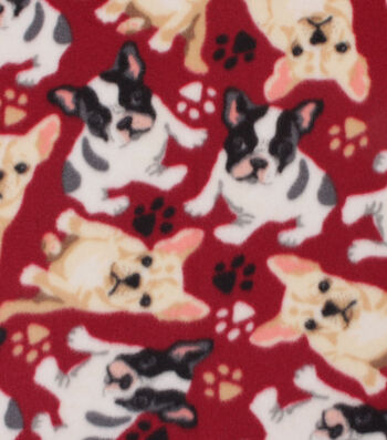 """Blizzard Fleece Fabric 59""""-French Bulldogs on Red"""