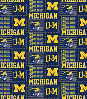 "University of Michigan Wolverines Cotton Fabric 44""-Patch Logo, , hi-res"