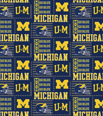 University of Michigan Wolverines Cotton Fabric -Patch Logo