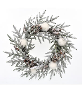 Blooming Holiday Christmas 26'' Flocked Snowball & Pinecone Wreath-White