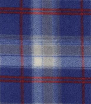 Blizzard Fleece Fabric-Beau Navy Red Plaid