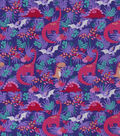 Snuggle Flannel Fabric-Bright Dinos On Purple
