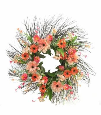 Fresh Picked Spring 24'' Zinnia & Wildflower Wreath-Peach
