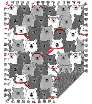 No Sew Fleece Throw-Happy Bears