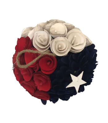 Americana Patriotic Wood Chip Flower Ball