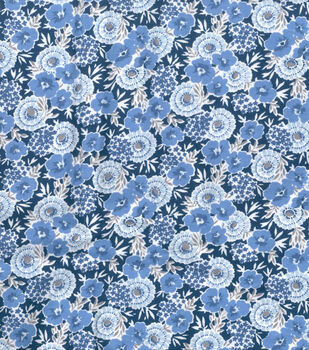 Wide Flannel Fabric -Blue Floral On Navy