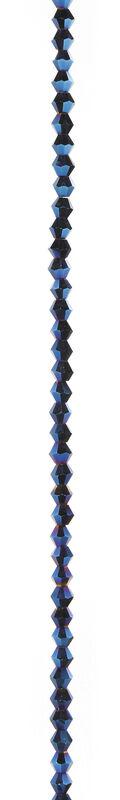 7\u0022 Bead Strands - Blue Metallic Crystal Bicones, 4mm