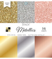 "DCWV Pack of 14 6""x6"" Glitter & Metallic Washi Tape Stack-Metallics, , hi-res"