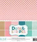 Echo Park Paper Company Dots & Stripes Collection Kit with Copper Foil