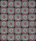 Christmas Cotton Fabric-Snowflake Diamond Plaid