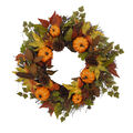 Blooming Autumn Pumpkin & Pinecone Wreath