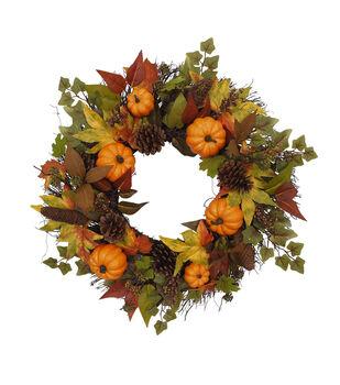 Blooming Autumn Pumpkin & Pinecone Wreath