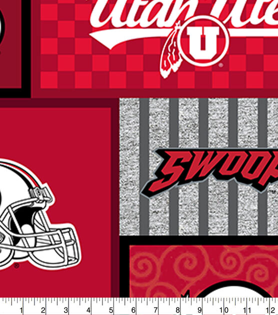 Utah Utes Cotton Flannel Fabric Sold by the yard University of Utah Flannel Fabric