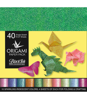 Black Ink 40 pk 6''x6'' Origami Papers-Iridescent