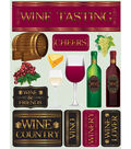 Signature Dimensional Stickers 4.5\u0022X6\u0022 Sheet-Wine Tasting